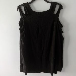 Black ripped shoulder sweater
